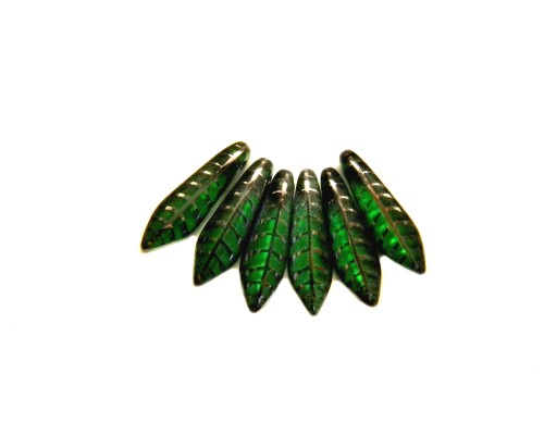 Dagger - 5x16mm, dark green, leaf - chrom
