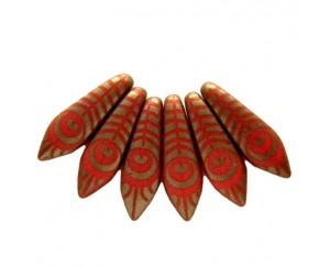 Dagger - 5x16mm, opaque red mat, peacock - chrom