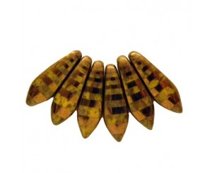 Dagger-5x16mm, opaque yellow, stripe - bronz
