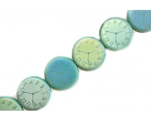 hodiny - světle zelený tyrkys mat, AB