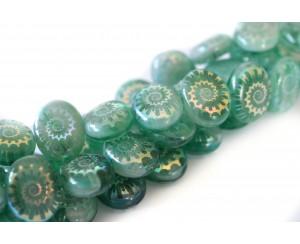 mušle - emeraldová zelená + bílá křída, AB