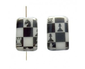 Rectangle 19x13mm,white, chess-chrom