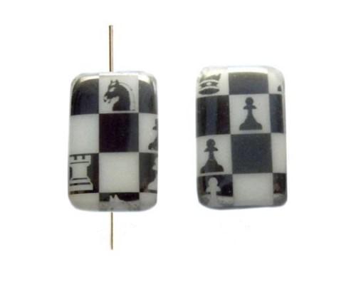 Rectangle 19x13mm,white, chess-chrom
