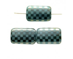 Rectangle 19x13mm, aqua opal, chessboard-chrom