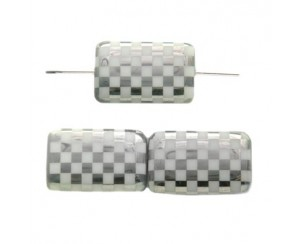 Rectangle 19x13mm,white, chessboard-chrom