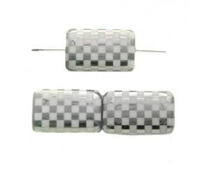Rectangle 19x13mm,white, chessboard-chrom