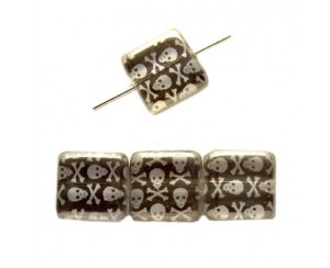 Squere 10mm, crystal, skulls-chrom