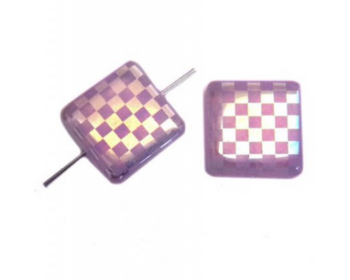 Squere 15mm, violet opal, chessboard-AB